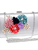 cheap -Women's Flower Polyester / Alloy Evening Bag Floral Print Black / Gold / Silver