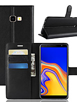 cheap -Case For Samsung Galaxy J8 (2018) / J7 (2017) / J7 (2018) Wallet / Card Holder / Shockproof Full Body Cases Solid Colored PU Leather