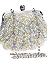 cheap -Women's Pearls / Chain Polyester Evening Bag Solid Color Black / White / Champagne