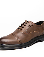 cheap -Men's Leather Fall / Spring & Summer Casual / British Oxfords Breathable Brown / Black / Party & Evening