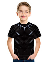 cheap -Kids Boys' Basic Street chic Geometric Color Block 3D Print Short Sleeve Tee Black