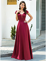 cheap -A-Line Illusion Neck Floor Length Satin Retro / Red Engagement / Prom Dress with Sash / Ribbon 2020