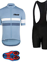 cheap -21Grams Men's Short Sleeve Cycling Jersey with Bib Shorts Black / Blue Stripes Bike Clothing Suit UV Resistant Breathable 3D Pad Quick Dry Sweat-wicking Sports Solid Color Mountain Bike MTB Road Bike