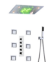 cheap -Shower Faucet Set - Handshower Included LED Rain Shower Contemporary Chrome Wall Mounted Brass Valve Bath Shower Mixer Taps