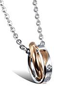 cheap -Men's Women's Cubic Zirconia Pendant Necklace Classic Heart Fashion Titanium Steel Black Gold 50 cm Necklace Jewelry For
