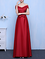 cheap -A-Line Off Shoulder Floor Length Spandex Elegant / Red Prom / Formal Evening Dress with Bow(s) / Sash / Ribbon 2020