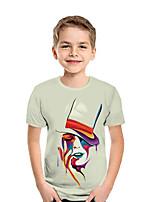 Недорогие -Дети Мальчики Активный Уличный стиль Геометрический принт Контрастных цветов 3D С короткими рукавами Футболка Белый