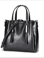 cheap -Women's Cowhide Tote Solid Color Black / Brown / Wine