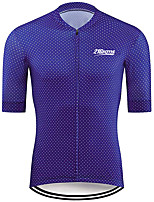 cheap -21Grams Men's Short Sleeve Cycling Jersey 100% Polyester Blue Polka Dot Bike Jersey Top Mountain Bike MTB Road Bike Cycling UV Resistant Breathable Quick Dry Sports Clothing Apparel / Stretchy