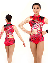 cheap -Rhythmic Gymnastics Leotards Artistic Gymnastics Leotards Women's Girls' Leotard Red Spandex High Elasticity Handmade Jeweled Diamond Look Long Sleeve Competition Dance Rhythmic Gymnastics Artistic