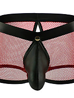 cheap -Men's Mesh Boxers Underwear - Normal Low Waist Black White Yellow S M L