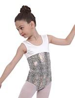 cheap -Gymnastics Leotards Girls' Kids Leotard Spandex High Elasticity Breathable Sparkly Sleeveless Training Ballet Dance Gymnastics White