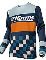 cheap -21Grams Men's Long Sleeve Cycling Jersey Downhill Jersey Dirt Bike Jersey 100% Polyester Orange Blue Plaid / Checkered Bike Jersey Top Mountain Bike MTB Road Bike Cycling UV Resistant Breathable