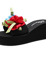 cheap -Women's Slippers & Flip-Flops Wedge Heel Open Toe Satin Flower / Ribbon Tie Polyester Sweet / Chinoiserie Walking Shoes Summer / Spring & Summer Camel / Red / Light Pink / Color Block