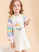 cheap -Toddler Girls' Floral Color Block Dress Beige