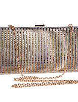 cheap -Women's Crystals / Chain Polyester Evening Bag Striped Black / Gold / Silver