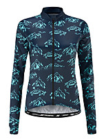 cheap -21Grams Women's Long Sleeve Cycling Jersey 100% Polyester Blue Bike Jersey Top Mountain Bike MTB Road Bike Cycling UV Resistant Breathable Quick Dry Sports Clothing Apparel / Stretchy / Race Fit