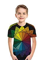 cheap -Kids Boys' Active Street chic Geometric Color Block 3D Short Sleeve Tee Rainbow