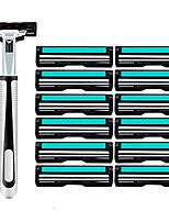 cheap -13pcs Razor Set Men Face Shaving Double Layers 12 Razors Blades Male Manual Standard Beard Shaver Trimmer