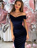 cheap -Women's Maxi Wine Royal Blue Dress Swing Solid Color Off Shoulder S M