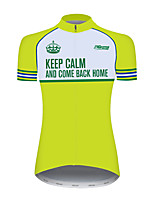 cheap -21Grams Women's Short Sleeve Cycling Jersey 100% Polyester Green / Yellow Bike Jersey Top Mountain Bike MTB Road Bike Cycling UV Resistant Breathable Quick Dry Sports Clothing Apparel / Stretchy