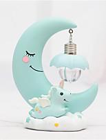 Недорогие -Смола луны единорога светодиодные ночной свет мультфильм детские детские лампы дыхание детей игрушки рождественский подарок детская комната ремесло настольный светильник в розовый / синий корпус