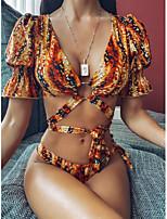 cheap -Women's Basic Rainbow Triangle Cheeky Tankini Swimwear Swimsuit - Leopard Color Block Print S M L Rainbow