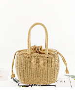 cheap -Women's Straw Top Handle Bag Solid Color Brown / Beige