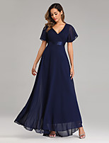 cheap -A-Line V Neck Floor Length Chiffon Empire / Blue Prom / Wedding Guest Dress with Pleats 2020