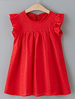 cheap -Kids Girls' Solid Colored Dress Red