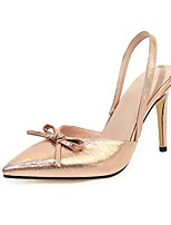 cheap -Women's Sandals Stiletto Heel Pointed Toe PU Business / British Summer Gold / Silver / Party & Evening