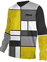 cheap -21Grams Men's Long Sleeve Cycling Jersey Downhill Jersey Dirt Bike Jersey 100% Polyester Grey Plaid / Checkered Bike Jersey Top Mountain Bike MTB Road Bike Cycling UV Resistant Breathable Quick Dry