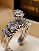 cheap -Couple's Ring AAA Cubic Zirconia 1pc Silver Silver 2 Silver 4 Platinum Plated Alloy Stylish Wedding Gift Jewelry Cute