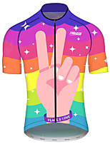 cheap -21Grams Men's Women's Short Sleeve Cycling Jersey 100% Polyester Red+Blue Rainbow Bike Jersey Top Mountain Bike MTB Road Bike Cycling UV Resistant Breathable Quick Dry Sports Clothing Apparel