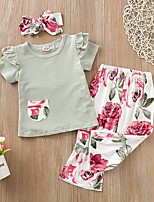cheap -Baby Girls' Street chic Floral Short Sleeve Regular Clothing Set Blushing Pink