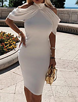 cheap -Women's White Dress Shift Solid Color S M
