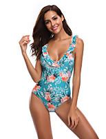 cheap -Women's Beach Girl Vintage 1980s Bikini Peplum Swimsuit Monokini Spandex Tactel Color Block Blue Leotard / Onesie