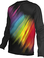 cheap -21Grams Men's Long Sleeve Cycling Jersey Downhill Jersey Dirt Bike Jersey 100% Polyester Black / Red Rainbow Stripes Bike Jersey Top Mountain Bike MTB Road Bike Cycling UV Resistant Breathable Quick