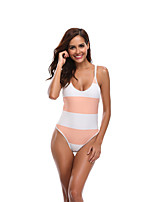 cheap -Women's Beach Girl Vintage 1980s Bikini Peplum Swimsuit Monokini Spandex Tactel Color Block Blushing Pink Leotard / Onesie