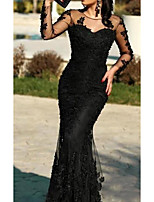 cheap -Mermaid / Trumpet Illusion Neck Sweep / Brush Train Polyester Elegant / Black Wedding Guest / Formal Evening Dress with Lace Insert / Appliques 2020