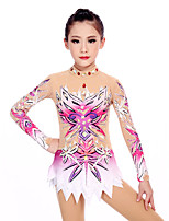 cheap -21Grams Rhythmic Gymnastics Leotards Artistic Gymnastics Leotards Women's Girls' Leotard Blushing Pink Spandex High Elasticity Handmade Jeweled Diamond Look Long Sleeve Competition Dance Rhythmic