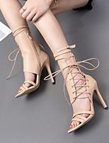 cheap -Women's Sandals Stiletto Heel Round Toe PU Mid-Calf Boots Summer Black / Almond