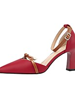 cheap -Women's Heels Chunky Heel Pointed Toe PU Spring & Summer Black / Wine / Almond