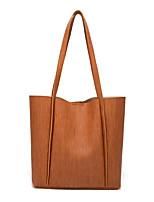 cheap -Women's Buttons PU Top Handle Bag Striped Brown / Blushing Pink / Yellow