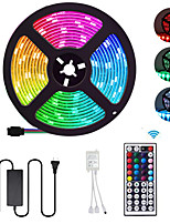 cheap -5m Flexible LED Light Strips / Light Sets / RGB Strip Lights 300 LEDs SMD5050 10mm 1 44Keys Remote Controller / 1 X 12V 5A Power Supply 1 set Multi Color Waterproof / Cuttable / Party 12 V