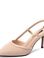 cheap -Women's Sandals Stiletto Heel Pointed Toe Suede Summer Black / Almond