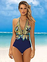 cheap -Women's One Piece Swimsuit Swimwear UV Sun Protection Breathable Quick Dry Sleeveless Swimming Water Sports Floral / Botanical Summer / High Elasticity