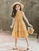 cheap -Kids Girls' Plaid Dress Yellow