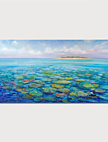 cheap -Hand Painted Canvas Oilpainting Impression Waterlilies Home Decoration with Frame Painting Ready to Hang