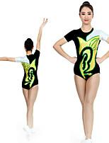 cheap -Rhythmic Gymnastics Leotards Artistic Gymnastics Leotards Women's Girls' Kids Leotard Spandex High Elasticity Handmade Short Sleeve Competition Dance Rhythmic Gymnastics Artistic Gymnastics Yellow
